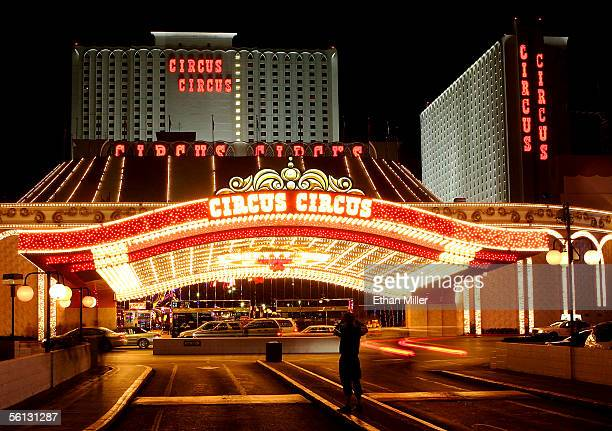 A tourist takes a photo in front of the Circus Circus hotelcasino November 9 2005 in Las Vegas Nevada