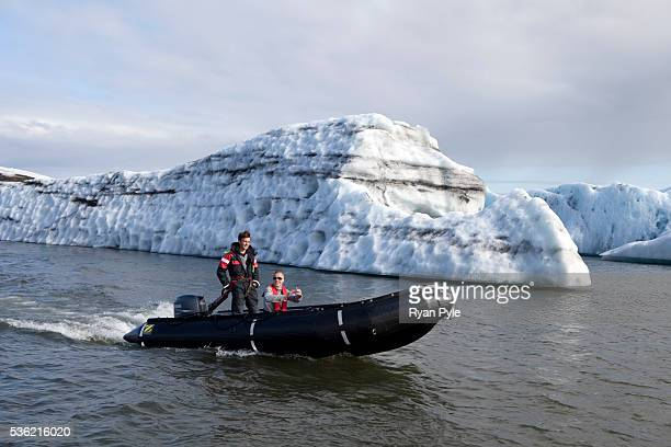 A tourist takes a private tour of the Jökulsárlón Glacial Lagoon part of the larger Skaftafell National Park in south central Iceland Iceland is one...