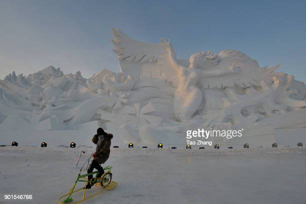 A tourist takes ice bicycle at the Harbin International Snow Sculpture Art Expo at Harbin Sun Island park on January 05 2018 in HarbinChinaHarbin Ice...