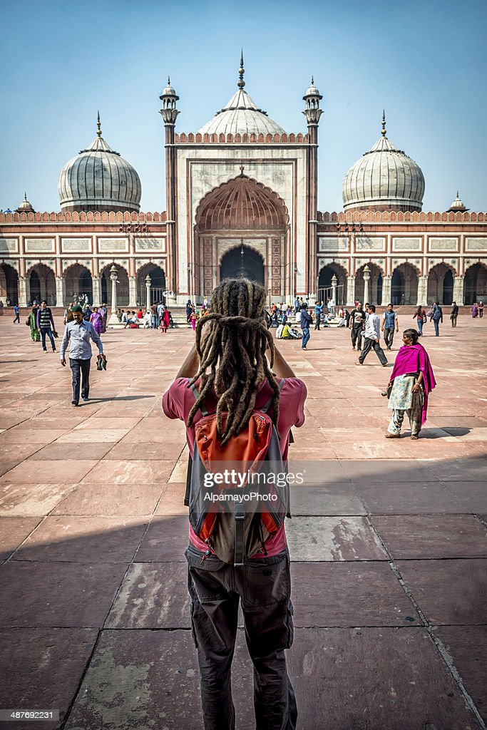 Tourist takes images of Jama Masjid in Old Delhi : Stock Photo