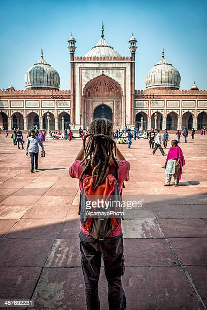 Tourist takes images of Jama Masjid in Old Delhi