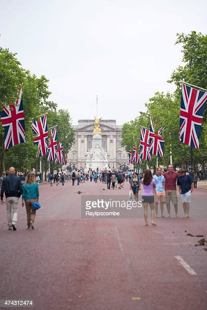 Tourist taking a casual walk down the Mall in London
