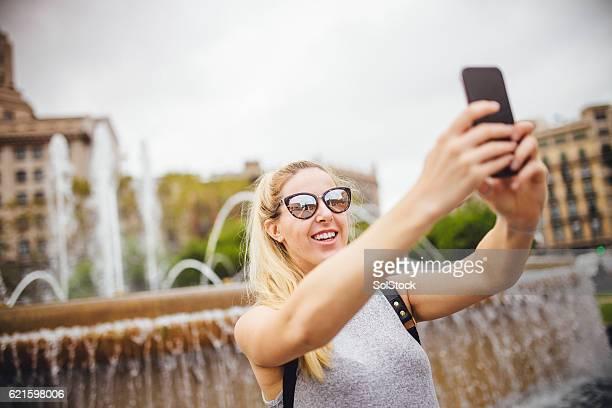 Tourist Taking a Selfie in Barcelona