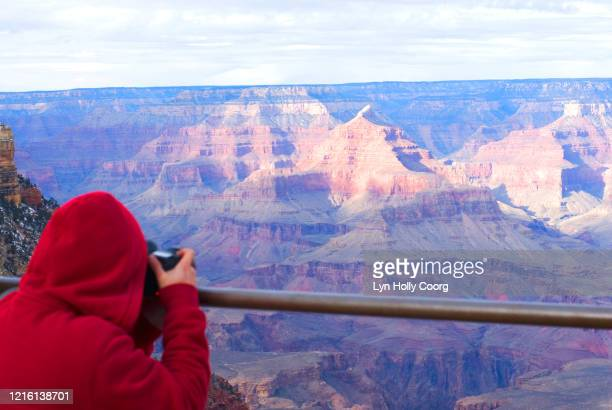 tourist taking photograph of grand canyon - lyn holly coorg stock pictures, royalty-free photos & images