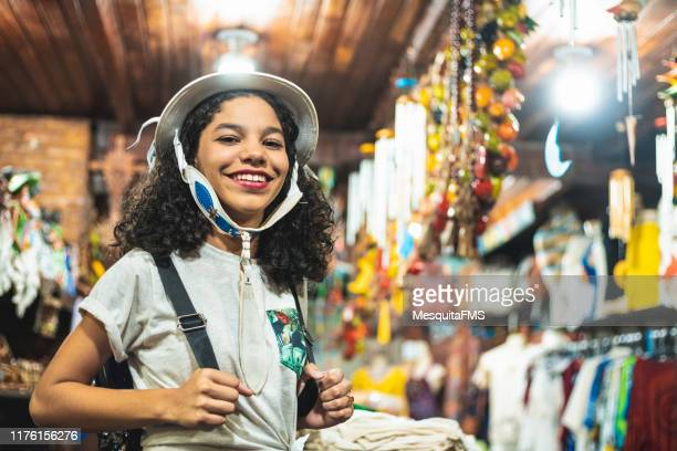 tourist teenager girl using craft products - recife stock pictures, royalty-free photos & images