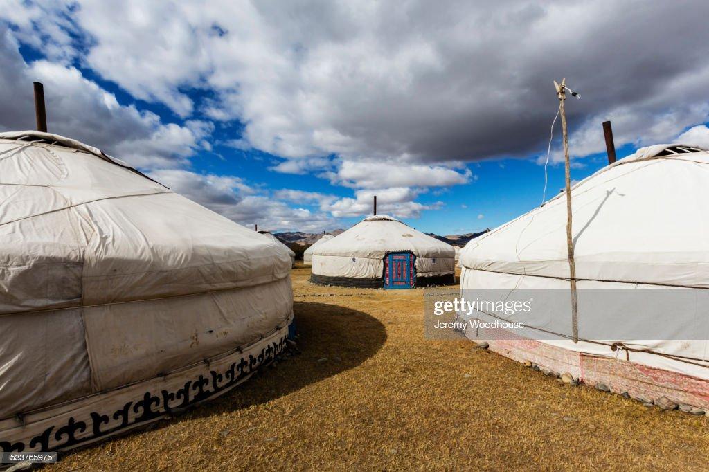 Tourist tents at remote campsite : Foto stock