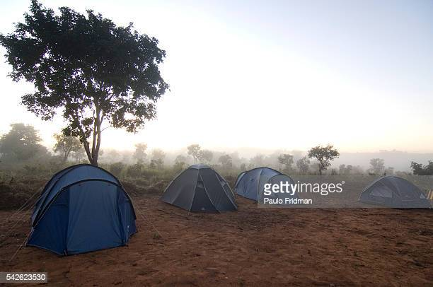 Tourist tents in the Kraho settlement about 6 km from Itacaja and 330 km from Palmas in Tocantins state Brazil The Kraho is of Brazil's 215 surviving...