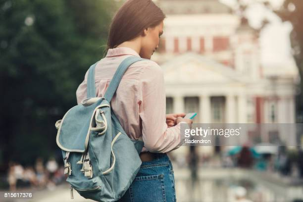Toeristische SMS op de telefoon