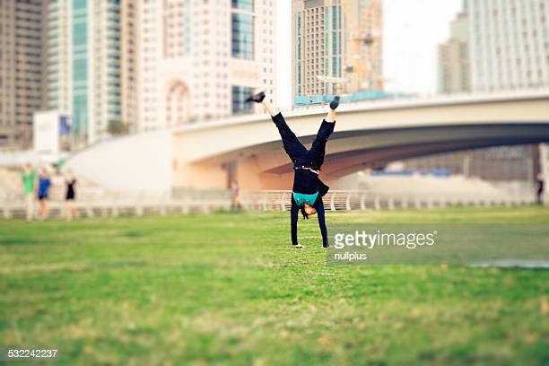 tourist to dubai having fun