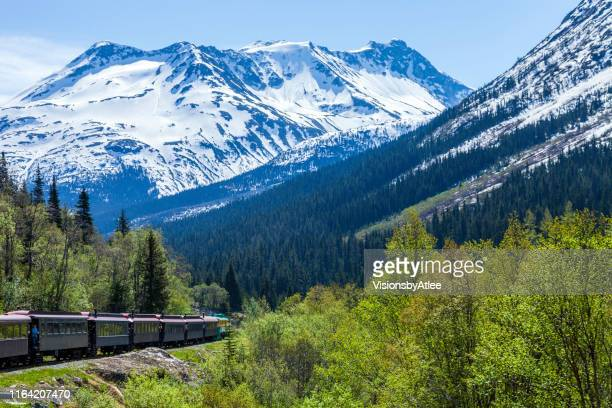 tourist train returning from the canadian border back to skagway ak through the white pass mountain gorge - mountain pass stock pictures, royalty-free photos & images