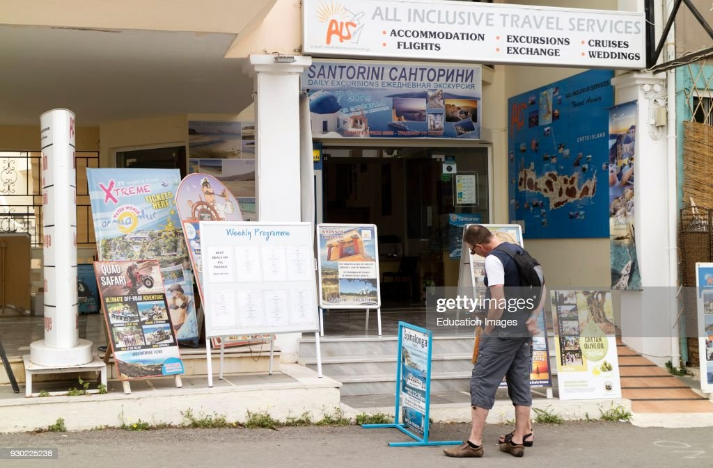 Tourist travel agent premises in the small coastal town of