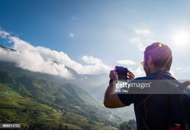 tourist trekking in sa pa - sa pa stock photos and pictures