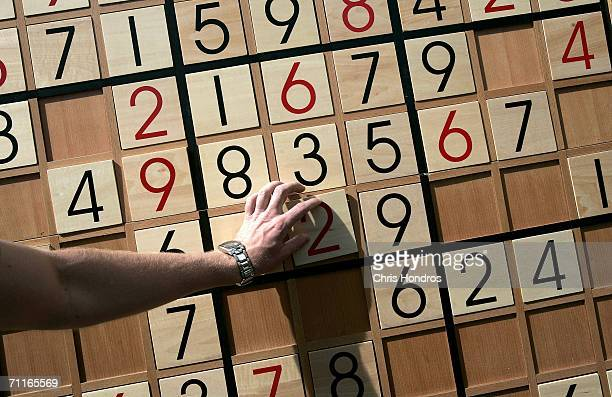 A tourist tries to complete a giant Sudoku puzzle on June 9 2006 on Times Square in New York City A game company set up a large board featuring the...