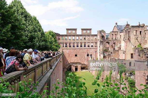tourist viewing ruins of heidelberg castle - ogphoto stock pictures, royalty-free photos & images
