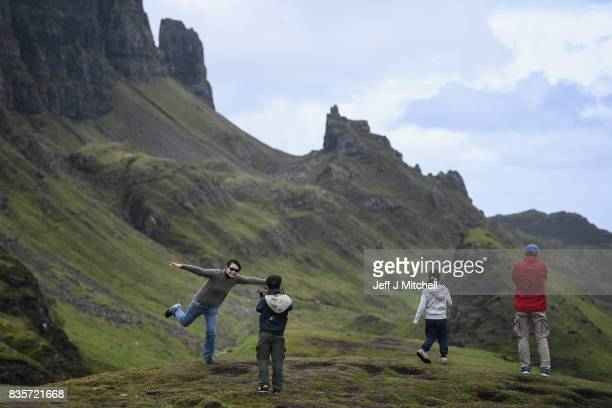Tourist visit the Quiraing on the Isle of Skye on August 17 2017 in Staffin Scotland The Isle of Skye is known as one of the most beautiful places in...