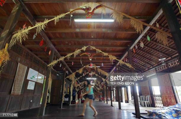 A tourist visits a longhouse one of the tourist spot in Kuching Sarawak the largest state in Malaysia located on the southwestern of Borneo 01...
