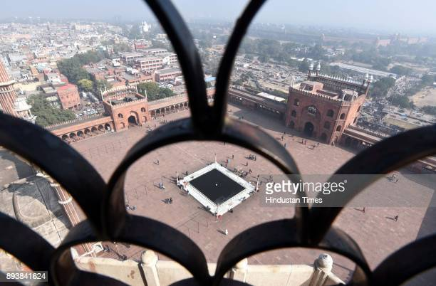 Tourist visits at Jama Masjid on December 16 2017 in New Delhi India The 17th century mosque built by Mughal emperor Shahjahan has started...