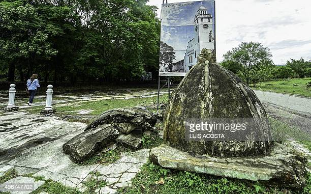 A tourist visits the ruins of Armero Tolima department Colombia on November 5 2015 Armero was destroyed by a landslide caused by the eruption of the...