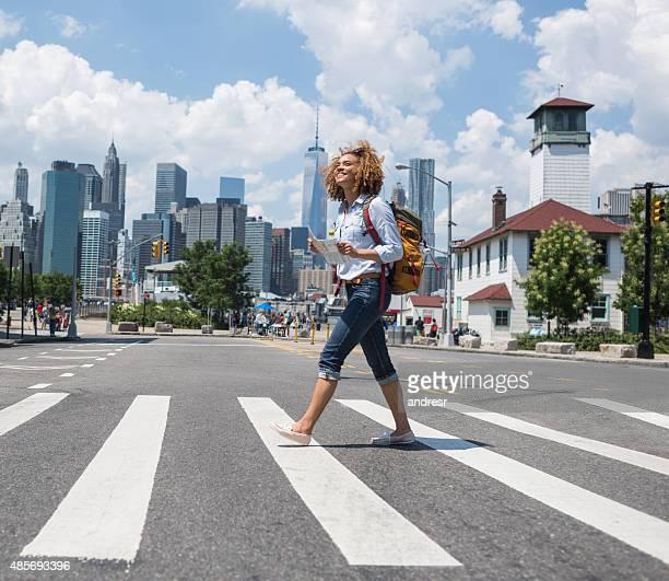 Tourist walking around New York