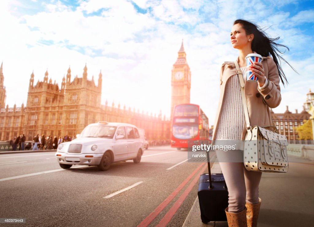 Tourist walking at Big Ben in London : Stock Photo