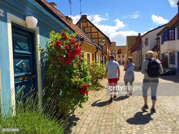 Tourist walking on street in Sweden