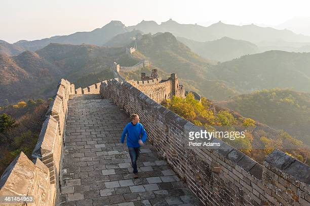 Tourist Walking on The Great Wall of China,