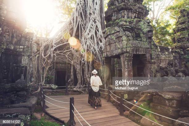 a tourist walks through ta prohm temple, near angkor wat, siem reap, cambodia. - angkor wat stock pictures, royalty-free photos & images