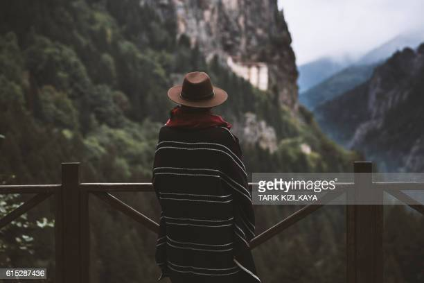 tourist watching scenic view of mountains - trabzon stock photos and pictures