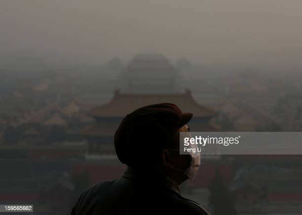 A tourist wearing the mask looks at the Forbidden City as pollution covers the city on January 16 2013 in Beijing China Heavy smog shrouded Beijing...