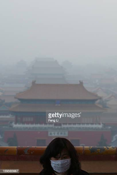 A tourist wearing the mask looks on as pollution covers the Forbidden City on January 16 2013 in Beijing China Heavy smog shrouded Beijing with...