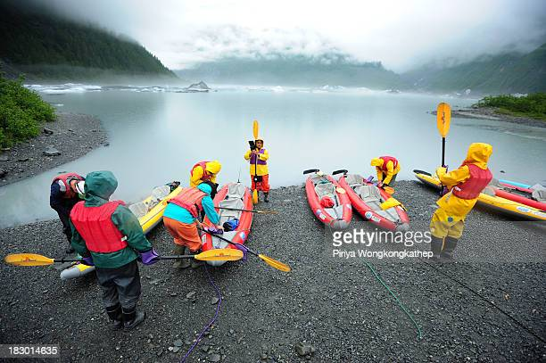 CONTENT] Tourist were checking their equipments in order to get ready to kayak around Valdez Glacier in Alaska