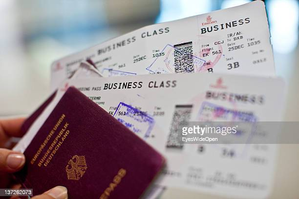 Tourist with a german passport two airline tickets for Business Class at the airport at December 24 2011 in Kozhikode Kerala India