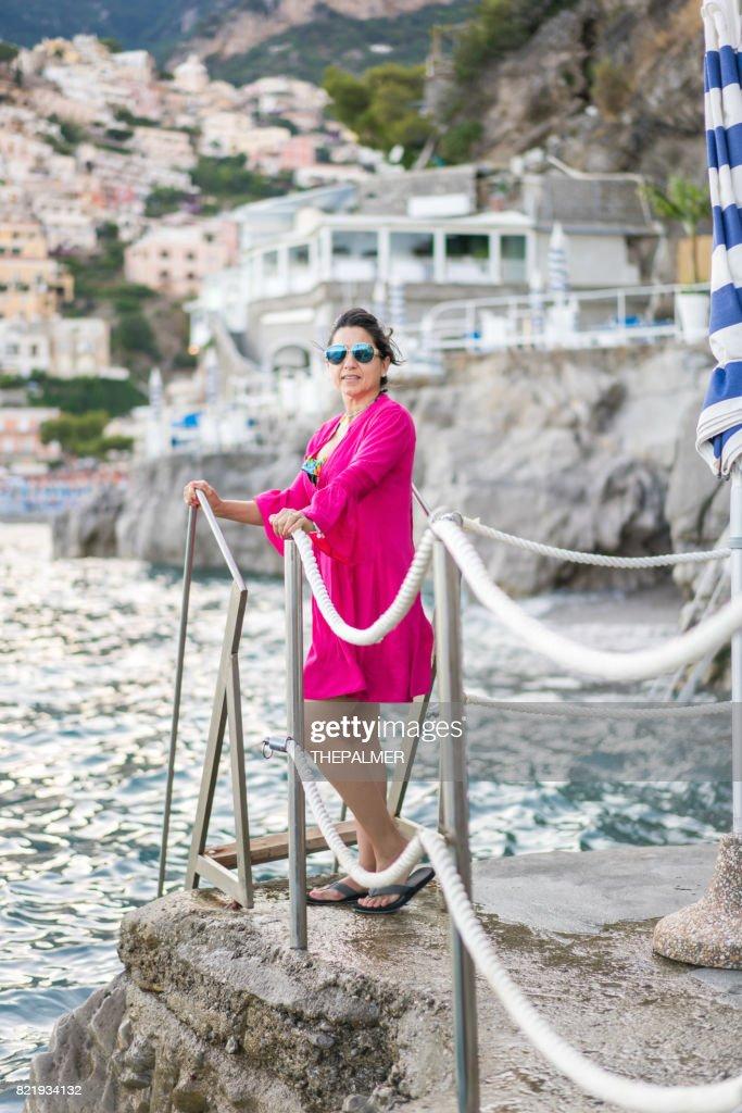 Tourist woman in Amalfi coast : Stock Photo