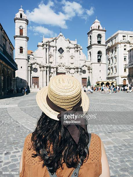tourist woman in cathedral square, la havana, cuba - old havana stock pictures, royalty-free photos & images