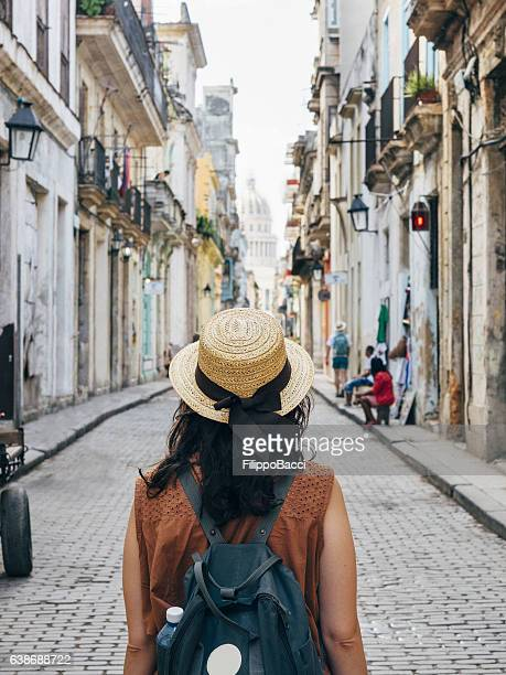 tourist woman in la havana city, cuba - tourist stock-fotos und bilder