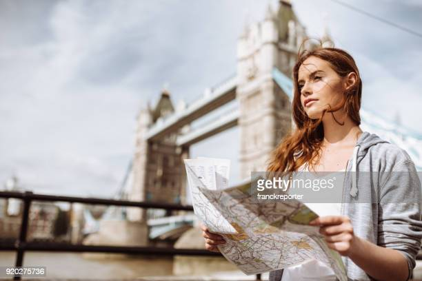 tourist woman in london with a map