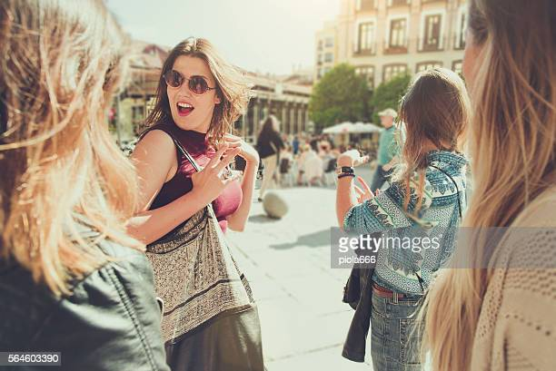 Tourist woman in Plaza Major, Madrid