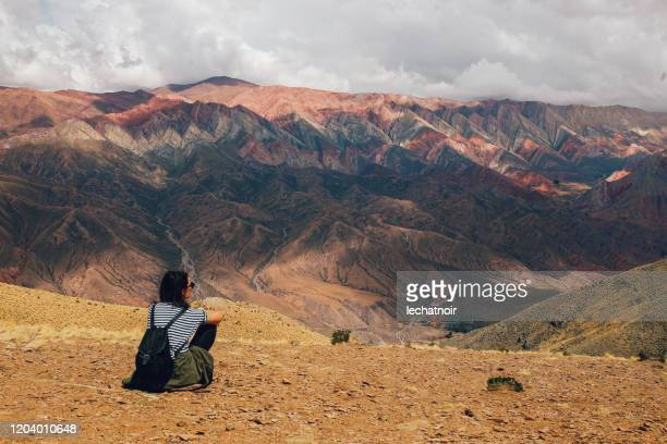 tourist woman in the mountains of argentina - argentina stock pictures, royalty-free photos & images