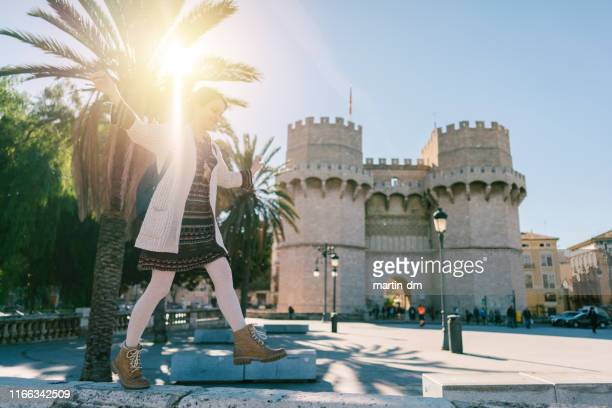 tourist woman in valencia - valencia spain stock pictures, royalty-free photos & images