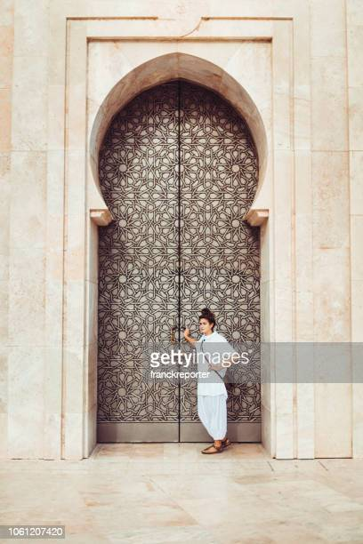 tourist woman portrait in casablanca - morocco - moroccan culture stock photos and pictures