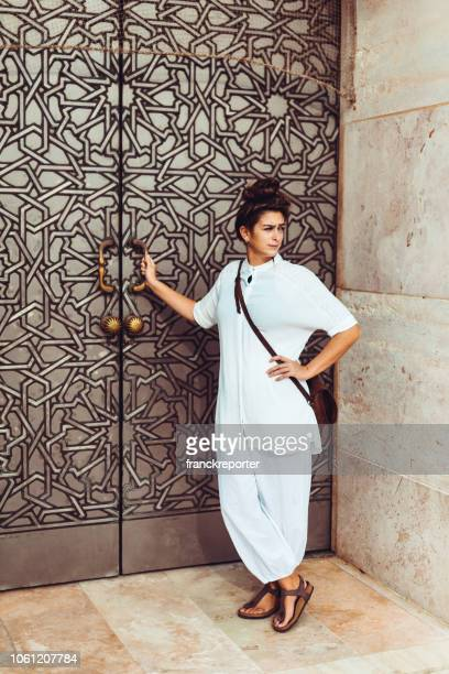 tourist woman portrait in casablanca - morocco - modest clothing stock pictures, royalty-free photos & images