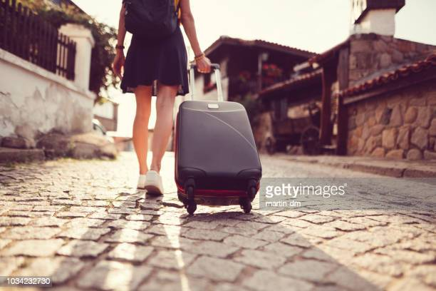 tourist woman traveling around europe - travel stock pictures, royalty-free photos & images