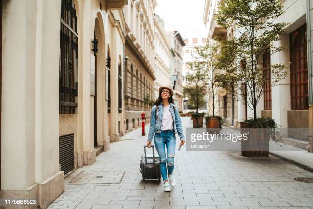 tourist woman visiting budapest - city break stock pictures, royalty-free photos & images