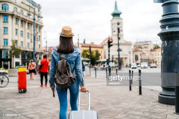tourist woman visiting budapest - nomadic people stock pictures, royalty-free photos & images