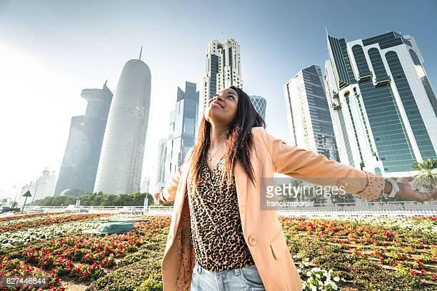 tourist woman walking in doha - qatar