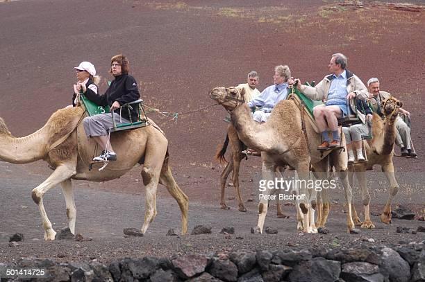 TouristenKamelreiten Nationalpark Timanfaya KanarenInsel Lanzarote Spanien Europa Lava Kamel Kamele Tier Tiere reiten Reise BB DIG PNr 382/2005