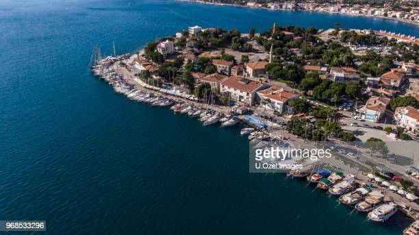 touristic aegean town '' foca '' aerial. - izmir stock pictures, royalty-free photos & images
