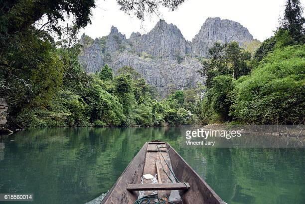 Touristic boat konglor cave Laos