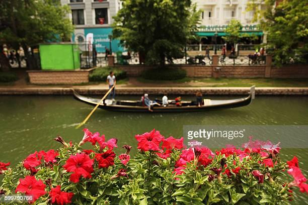 Touristic gondola kayak on the porsuk river with clients