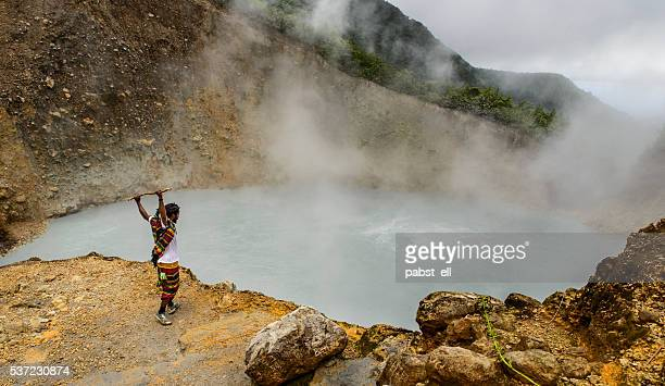 touristic guide at the boiling lake - dominica stock pictures, royalty-free photos & images